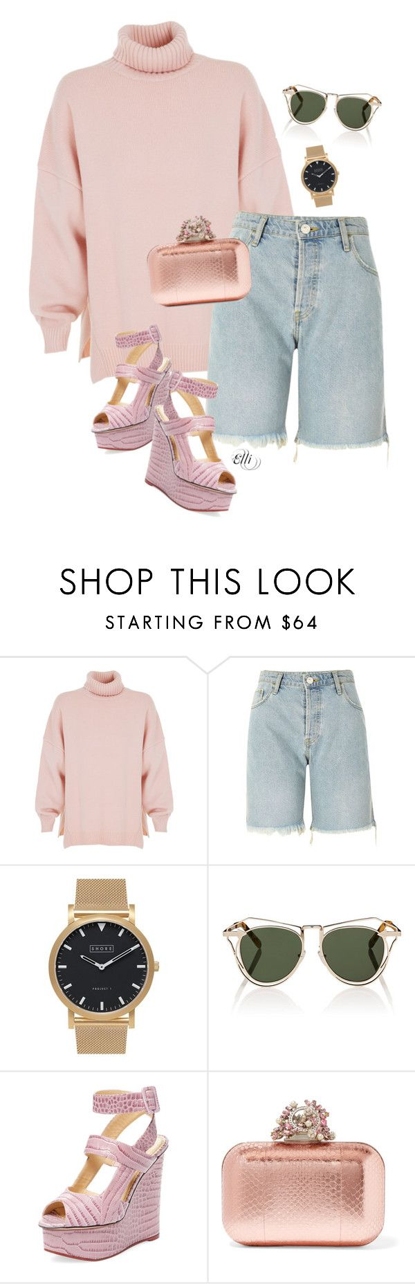 """""""Untitled #1040"""" by elli-skouf ❤ liked on Polyvore featuring TIBI, River Island, Shore Projects, Karen Walker, Charlotte Olympia and Jimmy Choo"""