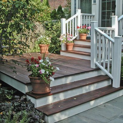 Dark deck color (matches the floors inside) and with white trim. Great idea! I would need to find a good mahogany stain.