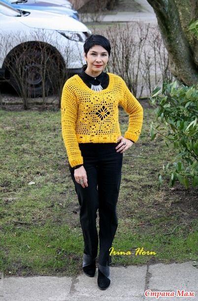 """Пуловер  крючком """"Лютик"""", в подарок незнакомке в СМ и немного о монохроме в одежде"""