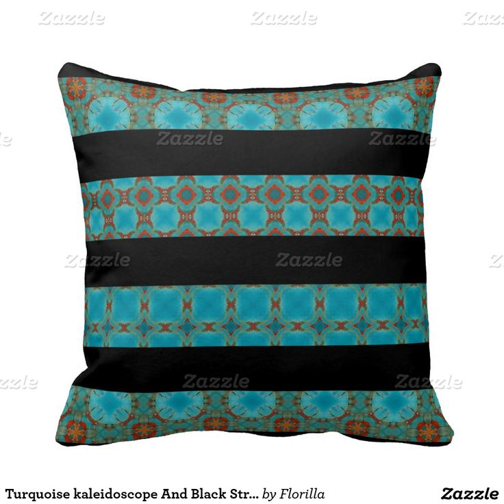 Gypsy Stripe Turquoise Grey Woven Cotton Rug: Turquoise Kaleidoscope And Black Striped Pillow