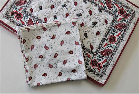 Set Of 6 Vintage French Souleiado Quilted Placemats And Etsy Red Table Linens French Vintage Place Mats Quilted
