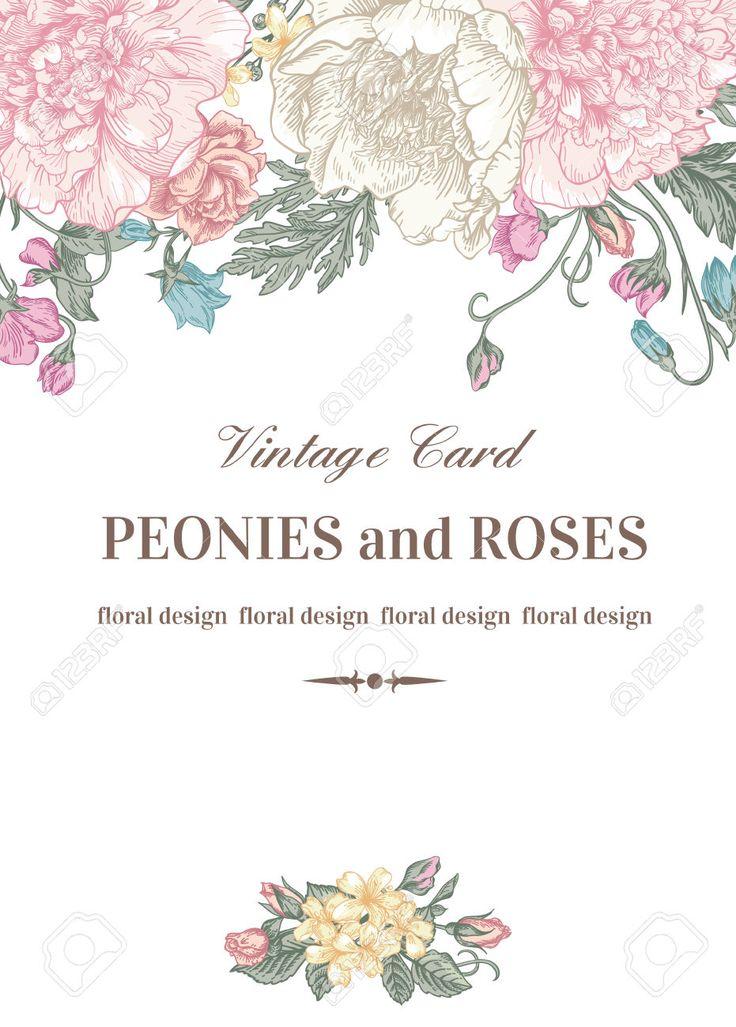 Vintage Carte Floral Avec Des Fleurs De Jardin. Pivoines, Roses, Pois De Senteur, Bell. Romantique Fond. Vector Illustration. Clip Art Libres De Droits , Vecteurs Et Illustration. Image 40384107.