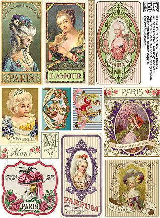 Miniature printable for the dollshouse lady's boudoir | Source: Unknown
