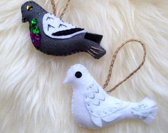 Set of 2 Bird Decorations. Hand Embroidered Christmas Decorations. Dove/Pigeon. Hanging Decorations. Felt Bird. Christmas tree decorations