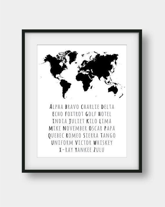 50% OFF Phonetic Alphabet World Map Print NATO by AenaonArtWork
