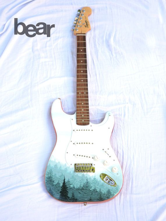 Custom Hand Painted Squier Fender Guitar Pine Tree by BearGallery