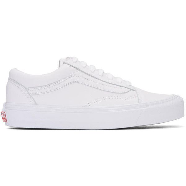 Vans White OG Old Skool LX Sneakers ($105) ❤ liked on Polyvore featuring shoes, sneakers, white, low top, white low top sneakers, vans trainers, white lace up shoes and white leather sneakers