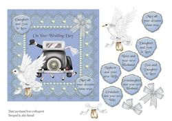 Lace and Pearl Wedding Day card with dove  bow   wedding car on Craftsuprint - View Now!