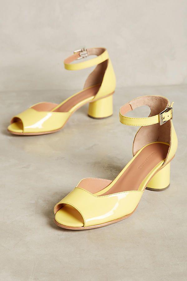 Rachel Comey Bodie Block Heel Sandals patten yellow