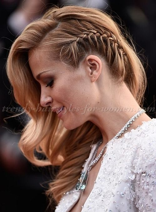 side swept hairstyle with side braid