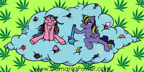 """Weed Sticker. Stoner Girl Art. My Little Pony Smoking Weed vynil sticker 6""""x3"""" by dOmaniaPower on Etsy https://www.etsy.com/listing/180692284/weed-sticker-stoner-girl-art-my-little"""