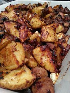 Slimming World Delights: Sausage, Mushroom, Potato and Feta Gratin (use veggie sausages)