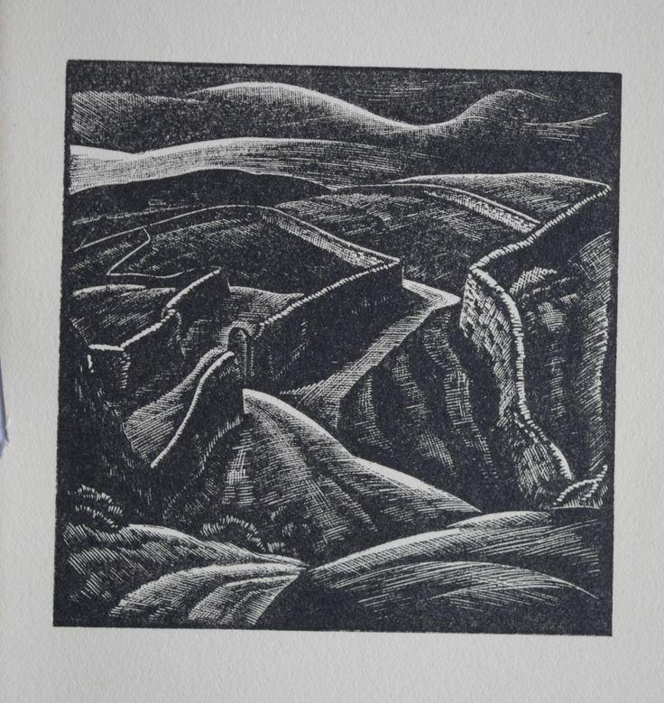 GREENFIELD YORKSHIRE DALES ROAD : 1952 Print of Woodblock