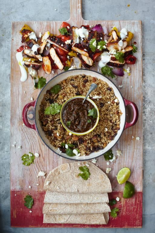 Sizzling chicken fajitas grilled peppers, salsa, rice & beans | Jamie Oliver | Food | Jamie Oliver (UK)