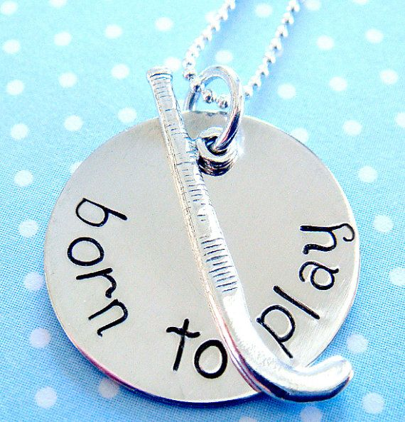 Field Hockey Necklace  Hand Stamped Jewlery   by KristyLynnJewelry, $32.00