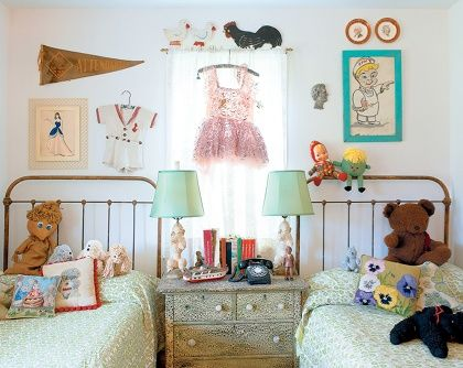 Vintage eclectic mix ----LOVE this. It makes me want to have my girls share a room again. Although, I'm not sure they'd go for it. :0)