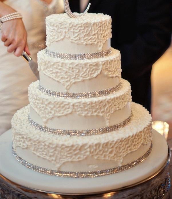 Wedding Cake Bling Beautiful Cakes That Sparkle Shine: Cake ! Strips Of Rhinestone Trim!