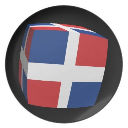 #personalize - #Dominican Republic Flag cubed. Melamine Plate