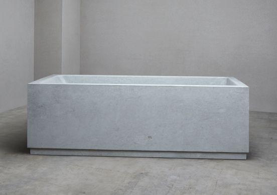 Blue Batieg Oversized limestone bath