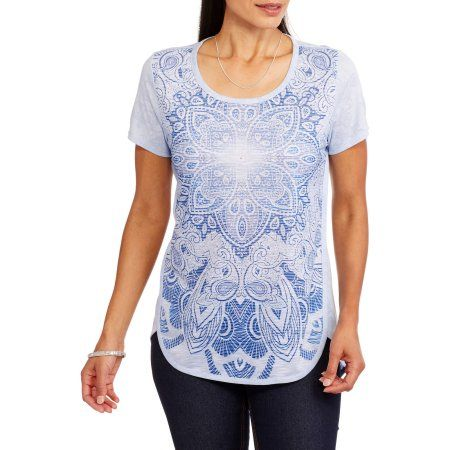 Faded Glory Women's Short Sleeve Allover Print T-Shirt with Tulip Hem, Size: Small, Blue
