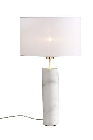 Bordslampa med fot av marmor och skärm av bomull. Detaljer i mässingfärgad metall. Total höjd 58 cm. Fotens höjd 30 cm. Ø fot 9 cm, skärm 33 cm. Sladdlängd 190 cm. Väggkontakt. Stor sockel. <br><br>Marmor är ett naturmaterial, vilket innebär att det är normalt att små avvikelser i storlek, färg och struktur kan förekomma. <br><br>