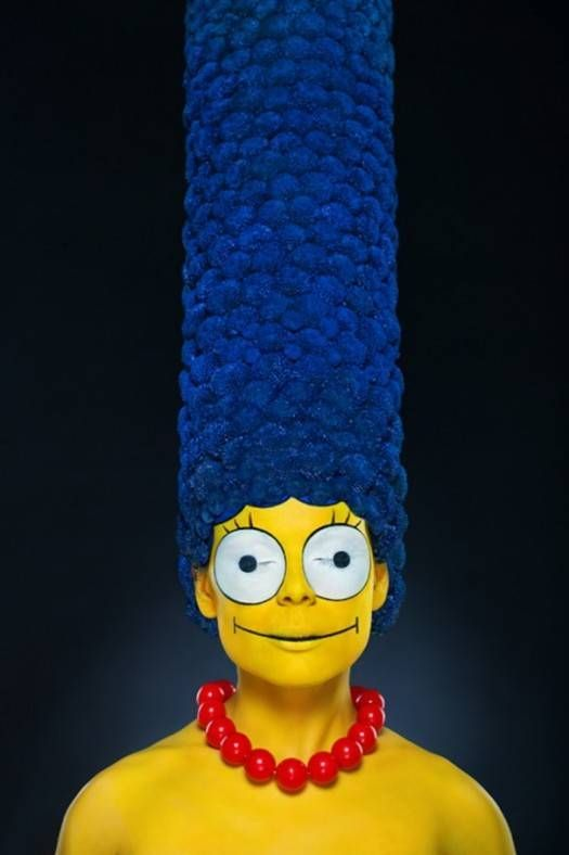No, This Is Not Photoshop. A Makeup Artist Created Marge Simpson on a Real Person