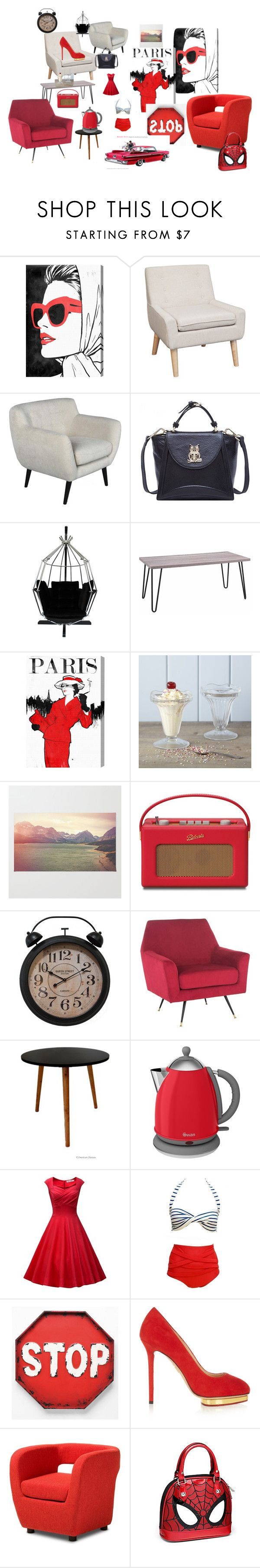 """REDNESS"" by jettgshelley ❤ liked on Polyvore featuring Oliver Gal Artist Co., Rigby & Mac, Swan, Charlotte Olympia and Baxton Studio"
