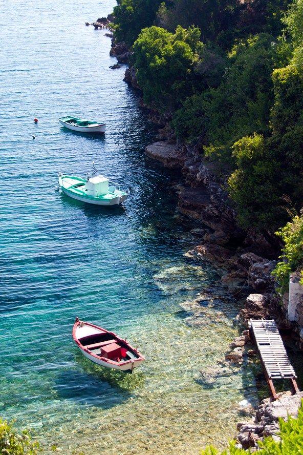 Kioni, en Ítaca, una de las islas griegas en el Mar Jónico.