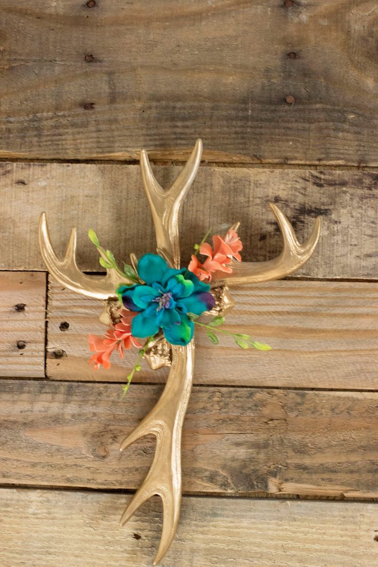 Floral Antler Cross/ Antler decor/Nursery Decor by DEXandCO on Etsy