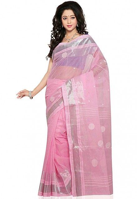 Pink Colored Tangail Cotton Saree