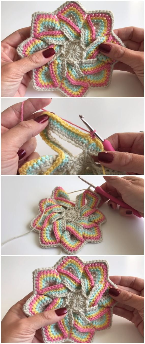 Crochet Easy 3D Potholders in 2018 | Häkeln | Pinterest | Potholders ...