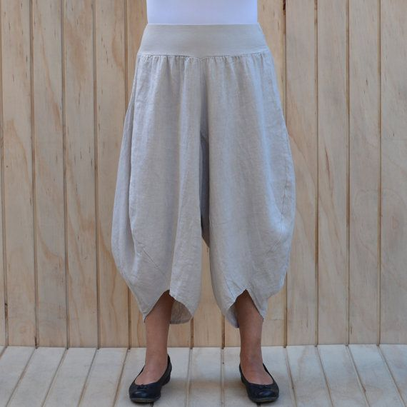 Ladies Lagenlook Tulip Harem Pants Womens Quirky Mori Trousers Linen Black, White, Navy, Beige, Khaki, Charcoal UK 14 16 18 20 22 24 26 Z49
