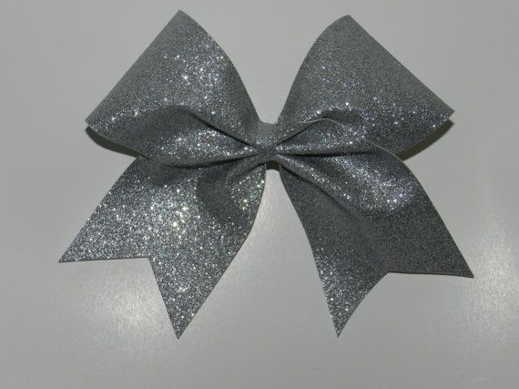 "3"" Texas Size Cheer bow - Silver Glitter - squad discounts on Etsy, $8.00"