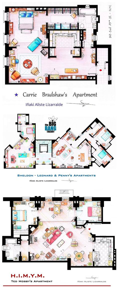 Carrie Bradshaw's apartment  As Seen on TV: Floor Plans from Famous Television Series