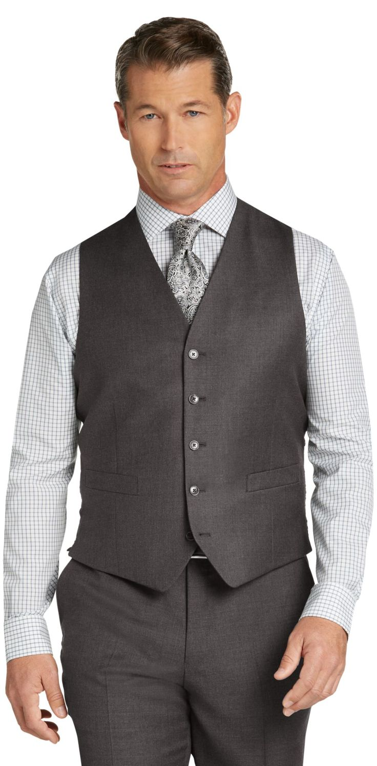 Traveler Collection Tailored Fit Solid Suit Separates Vest - Big & Tall