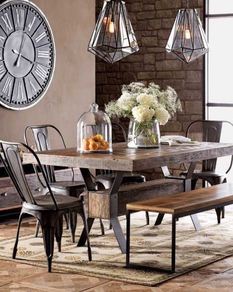 Vinage Industrial Dining Room Decor. Skip the uncomfortable chairs but I love everything else like the rustic table and the dining room light fixtures.