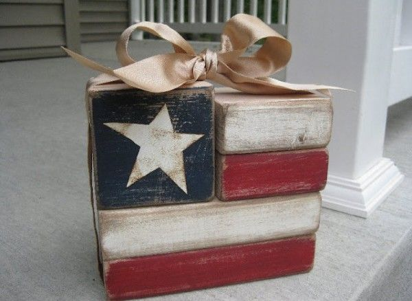 Patriotic Crafts for Adults | Wood blocks flag craft by Brown Paper Bags.