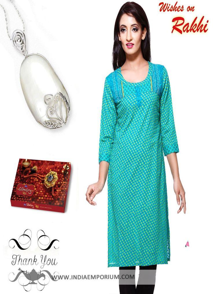 Cyan Blue Kurti & Pendant #Rakhi Hamper For Sister  #RakhiGifts