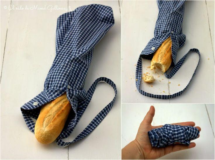 Convertir una vieja camisa de chico en una bolsa para el pan ¿Te apuntas?