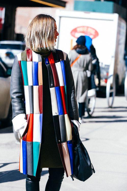 nyfw, street style, colorful, colorido, casaco, couro, patchwork, inverno,