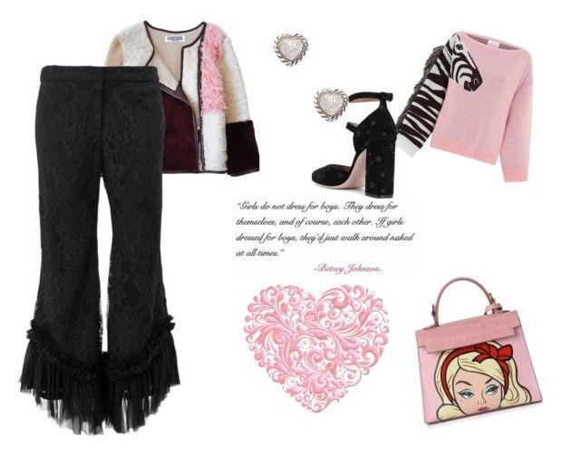 """""""Barbie morning"""" by micettes ❤ liked on Polyvore featuring Florence Bridge, Hayley Menzies, Alexis, Effy Jewelry, RED Valentino and Betsey Johnson"""