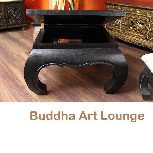 Opiumtisch Couchtisch Schwarz 67x67x41 Aufklappbar Holz Massiv Opium Quadratisch in Möbel & Wohnen, Möbel, Tische | eBay