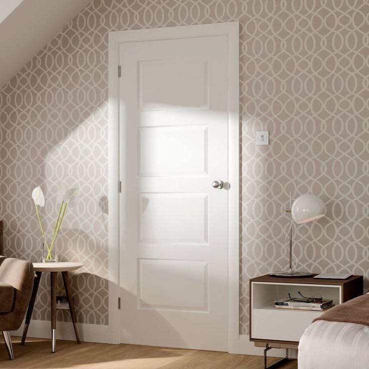 Severo White 4 Panel Door - Prefinished. #whitedoor #interiorwhitedoor #bedroomdoor