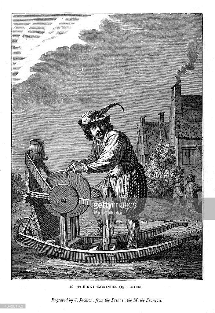 The Knife-grinder of Teniers, c1630-1690, (1843). 1843. An engraving from The Art-Union Scrap Book, Henry G Bohn, London, 1843.