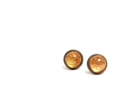 Art Stud Earrings Drop of Gold Earrings  Art Jewelry Modern Earrings  Abstract Gold Design  handmade by Evartstudio