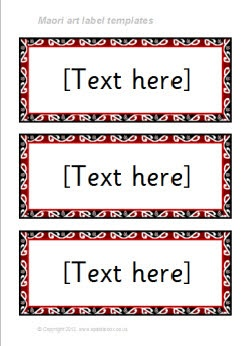 Maori art-themed classroom label templates - SparkleBox
