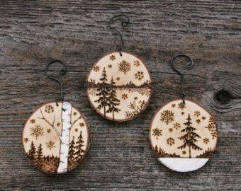 Rustic Wood Burned Tree Ornaments Set of 3 by TwigsandBlossoms
