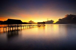 docks in early morning at downtown Waisai Raja Ampat, Indonesia #burufly #sunrise