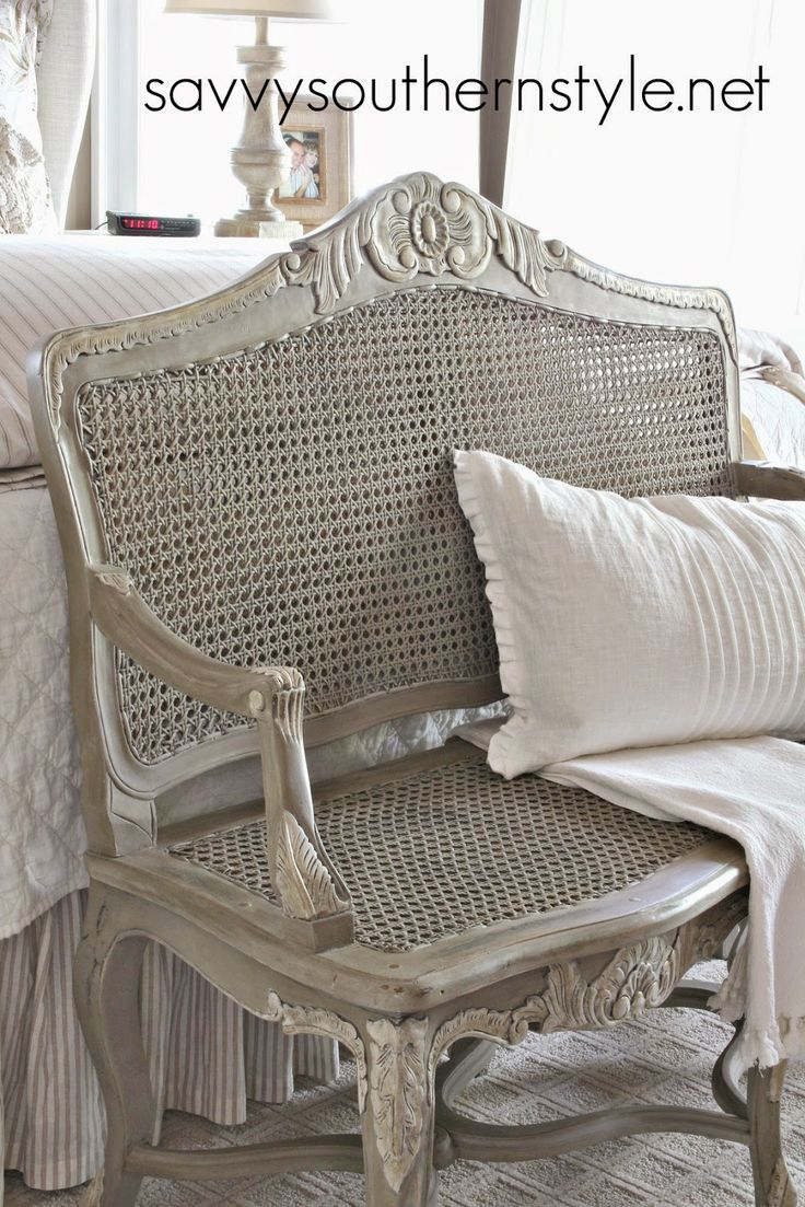 Cane chairs with cushions - I Painted Two Coats Of Coco Ascp Then Added A Lighter Gray To The Raised Details Cane Furniturefrench