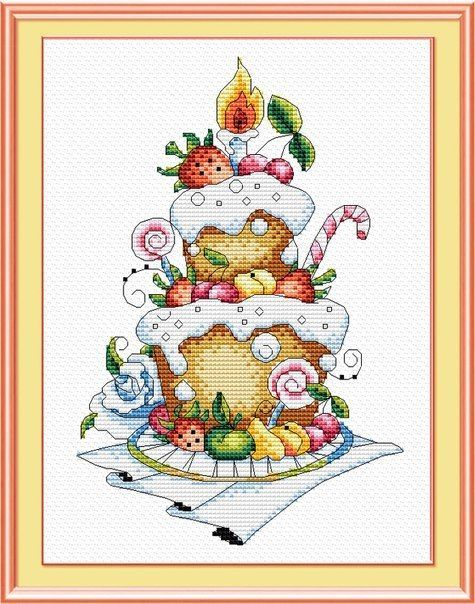COUNTED CROSS STITCH KIT FRUIT DESSERT    PRODUCT DETAILS:  The size of the finished work: 26x16 cm Technique: Counted cross The set is equipped with:  a color scheme with printed characters; cotton canvas Aida 14 Gamma; floss Gamma 19, disassembled on the organizer; needle  The frame in kit is not included. Manufacturer: M.P.Studiya (Russia)